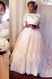 Modest 3 4 Sleeves Lace Wedding Dresses Scalloped-Edge Court Train Bridal Gowns