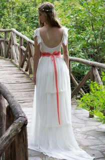 Poet-Sleeve Chiffon Pleated Floor-Length Wedding Dress With Sweep Train