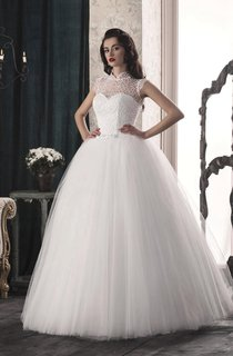A-Line Tulle Lace Weddig Dress With Illusion Corset Back