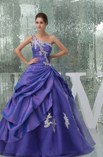 One-Shoulder Ruched Pick-Up Ball Gown with Appliques