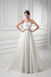 Sweetheart Criss-Cross A-Line Gown with Pleats and Broach