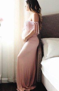 Long Off-the-shoulder Jersey Maternity Dress
