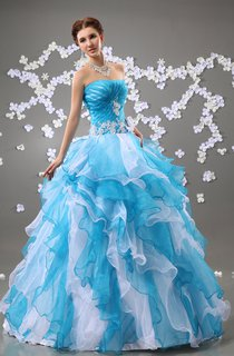 A-Line Floral Strapless Chic Ball Gown With Crystal Detailing And Ruffles
