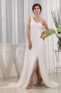 Simple One-Shoulder Chiffon Maxi Dress With Front Slit