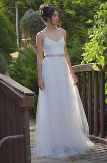 Spaghetti Sleeveless Tulle Pleated Floor-Length Wedding Dress With Bow