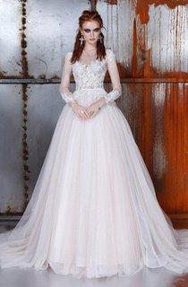 A-Line Ball Gown Bell Long Sleeve Weddig Dress