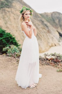 Boho Flowy Soft Transparent Tulle Wedding Dress With Lace Bodice