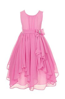 Sleeveless Scoop-neck Dress With Ruffles and Bow