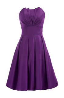 Strapless Empire A-line Mini Ruffled Satin Dress