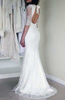 Chiffon Satin Lace Zipper Wedding Dress