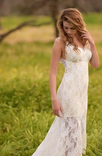 Trumpet Wedding Beach Wedding Low Back Wedding Lace Ivory Beach Dress
