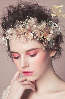 Korean Gauze Flowers Rhinestone Pearl Stick Beautiful Fairy Hairpin