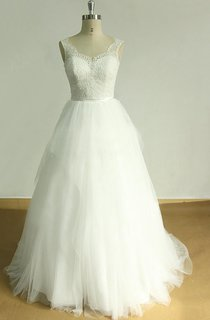 A-Line Tulle Lace Satin Weddig Dress With Ruffles