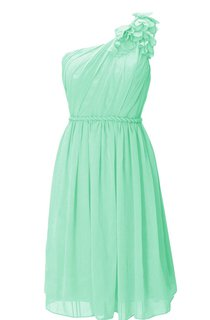 Petal One-shoulder Pleated A-line Gown With Zipper Back