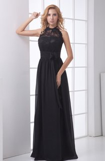 High-Neck Lace Sleeveless Floor-Length Dress with Bow
