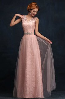 Lace Strap A-line Long Tulle Dress With Beaded Sash