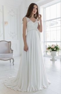 V-Neck Sleeveless Empire Chiffon Wedding Dress With Beading And Lace Top