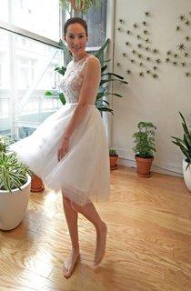 Tea-Length Organza Wedding Dress With Heart Open Back