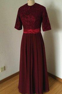 High Neck Half Sleeve Chiffon&Lace Dress