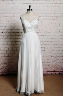Illusion Neck Sleeveless Long A-Line Pleated Wedding Dress