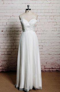 Illusion Neck Sleeveless Long A-Line Pleated Wedding Dress
