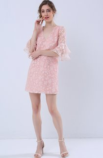 Bell Sleeve V-Neck Shift Dress