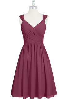 V-Neck A-Line Sleeveless Short Chiffon Dress With Ruching