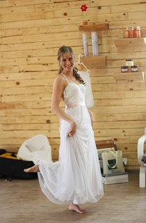 Tulle Backless Boho Wedding Dress Vintage Style With Sash