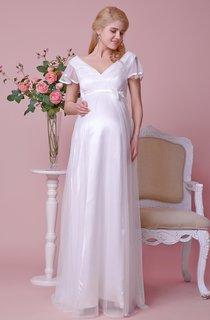 Empire Waist V-neck Short-sleeved Maternity Wedding Dress With Satin Bow