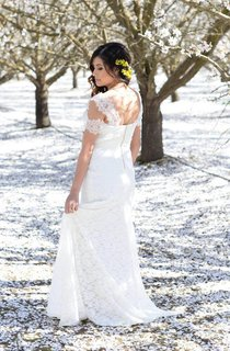 Bohemian Ivory Cap Sleeve V-Neck Lace With Silk Tulle Sash