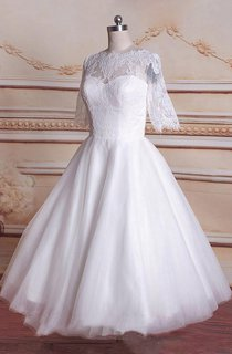 Tea-Length 3-4 Sleeve Tulle Lace Satin Weddig Dress