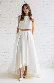 Bateau Sleeveless Two-Piece A-Line Satin Wedding Dress