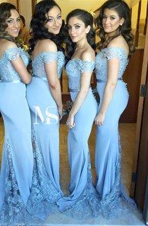 Sexy Off-the-shoulder Mermaid Lace Appliques Bridesmaid Dress 2016 Zipper Button Back
