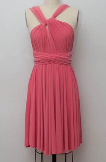 Coral Short Infinity Convertible Formal Multiway Wrap Dress