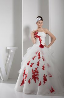 Two-Tone Strapless Ruched Tulle Ball Gown with Flower and Appliques