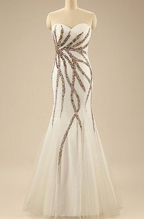 Mermaid Floor-length Sweetheart Tulle&Satin Dress With Sequins