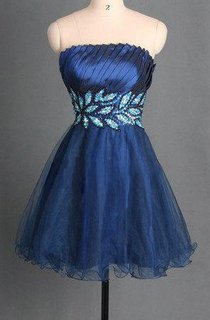 Short Tulle&Satin Dress With Beading&Sequins