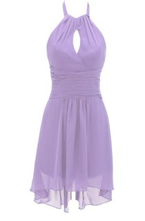 Halter Notched Short Dress With Ruched Band