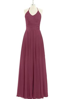 A-Line Long Chiffon Pleated V-Neck Dress With Halter