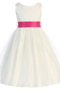Sleeveless A-line Dress With Lace Bodice