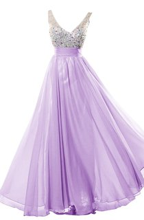 Glamrous V-neck Crystal-beaded Chiffon A-line Gown