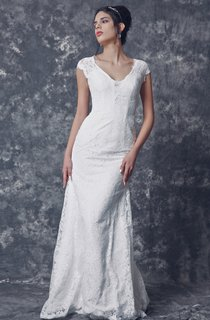 Sassy Low-v Neck Mermaid Lace Gown With Cap Sleeves