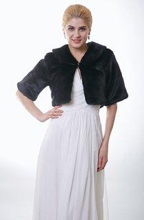 Bridal Faux Fur Jacket With Half Sleeves
