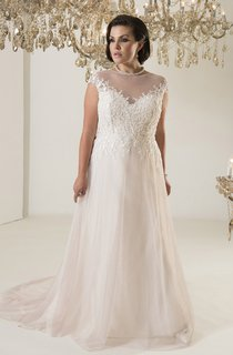 A-Line Long Jewel Neck Cap Tulle Chapel Train Illusion  Dress