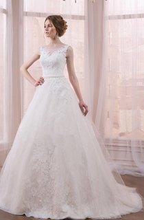 Sleeveless Sleeve Tulle Lace Weddig Dress