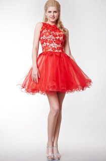 Graceful Sleeveless High-neck Short Lace Gown