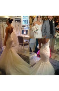 Spaghetti Strap V-neck Mermaid Lace Gown With Beaded Detailing