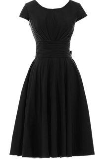 Scoop-neck Short-sleeve Fuffle A-line Bridal Dress