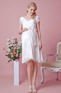 V-neck A-line Knee Length Lace Maternity Wedding Dress With Belt
