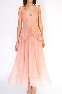 Salmon Blush Tea Length Silk Wedding Gown Pleated Silk Boho Style Bohemian Wedding Beach Wedding Wedding Gown Dress